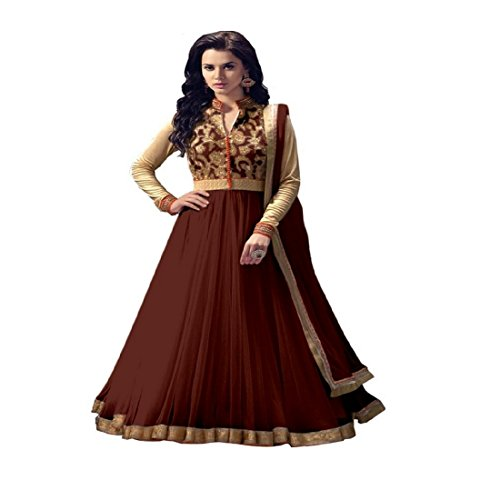 Rahi Fashion Women's Brown Net Anarkali Embroidered Semi-stitched Salwar Suit Dupatta Material  available at amazon for Rs.649