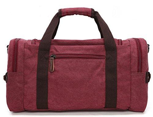 Wealsex Unisex Reisetasche Canvas hohe Kapazität handtasche 46/25/23cm Rot