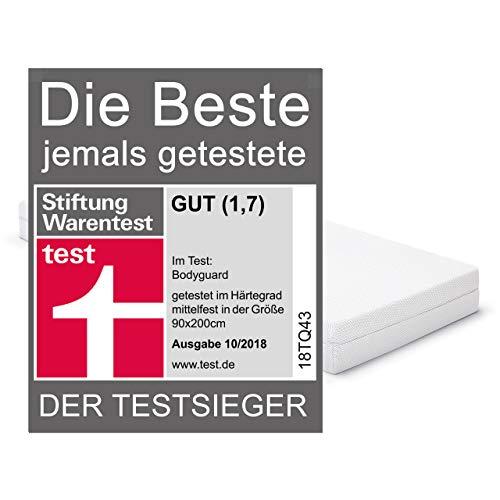 Bodyguard Anti-Kartell-Matratze – Testsieger Stiftung Warentest 7/2015 (H3 mittelfest, 90×200 cm, 2in1 Liegehärten H3&H4, Bezug waschbar bis 60 Grad, OEKO-TEX® 100, Ergonomiemodule - 2