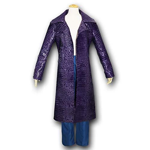 DUHLi Selbstmordkommando Cosplay Jared Leto Joker Cosplay Kostüm Lederjacke Hosen Erwachsene Männer Halloween Karneval Party Kostüm(Lilla Leder + Blaue - Machen Harley Quinn Kostüm