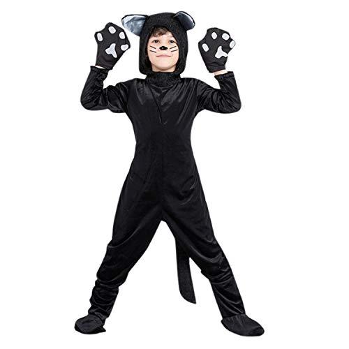 YASSON Baby Kinder Kostüm Jumpsuit Onesie Unisex Jungen Mädchen Tier Katze Warm Overall Tierkostüm Einteiler Overall Jumpsuit Pyjama Schlafanzug S M L 62-73cm (Kostüm Jungen Katze)