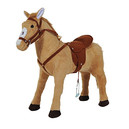HOMCOM Kids Cuddly Toy Standing Horse Children Plush Soft Pony Ride On Game Play Fun Traditional Gift w/ Neigh Sound