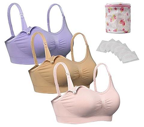 3x Soutien-Gorges Allaitement sans Couture Brassière dentelle Confortable Pratique Nursing Bra lingerie,L