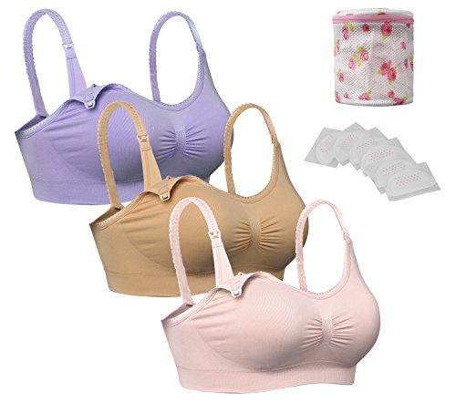 iLoveSIA Damen Umstandsmode Unterwäsche Still-BH mit Spitze Lila+beige+rosa 3PACK +Wäschesäcke M -