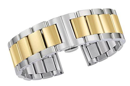 15mm wunderschöne schmale Uhr Armbänder Ersatz Luxus feste Edelstahl Dual-Ton Silber und Gold