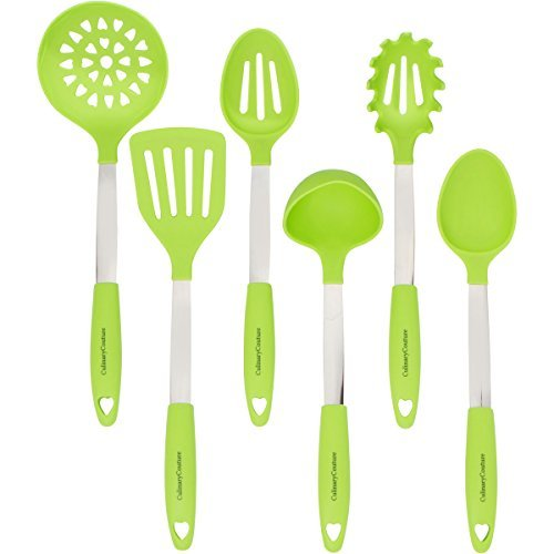 Lime Green Cookware Set - Stainless Steel & Silicone Heat Resistant Kitchen Tools - Ladle, Spatula, Mixing & Slotted Spoon, Pasta Fork Server, Drainer - Bonus Ebook!