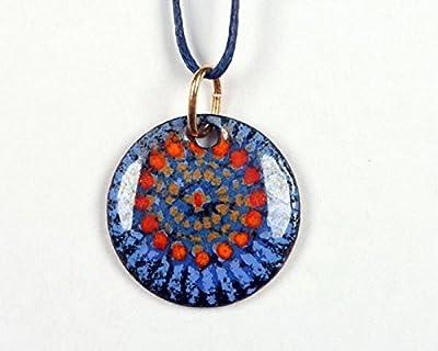 Pendentif rosace rond bleu roi émail sur cuivre