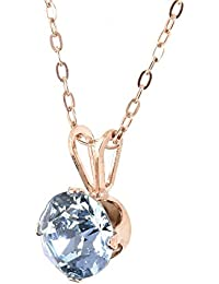 pewterhooter 18ct Rose Gold on 925 Sterling Silver pendant and 50cm chain made with Aquamarine Blue crystal from SWAROVSKI®. London box.