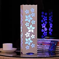 dee RGB Hollow Out Florals Shaped Wooden Table Lamp with Polymer Lampshade and Remote Controller