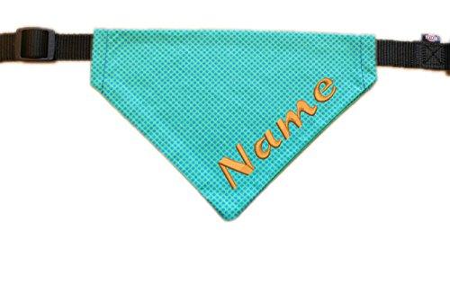 Halstuch mit Name bestickt für Hunde - Farbe mint kariert - inkl. Halsband - Größe XS - S