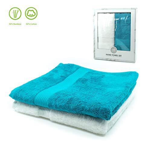 TopSpirit Premium 2er Set Gäste Handtuch in Weiß/Petrol - Neuartige Fasermischung aus Bambus und Baumwolle - 50 x100 cm - 500 g/qm - Frottee Handtücher in edler Geschenkbox