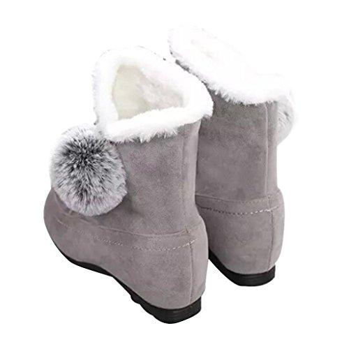 Stiefel Damen Clode® Frauen Art und Weiseknöchel Aufladungen flache beiläufige Schuhe wärmen Veloursleder-Schuhe Grau