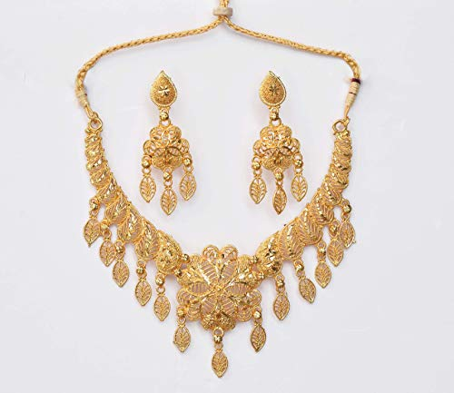 Prince Trader One Gram Gold Wax Forming Work Golden Necklace Jewellery Set for Women