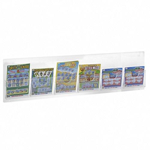 Espositore schedine e gratta e vinci da parete in plexiglass trasparente a 6 tasche