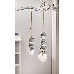 Idea Regalo - amelex 67 - Oggetti da appendere, cuore di pietra (Confezione da 2)