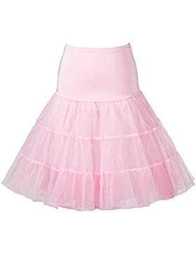 BOOLAVARD De 50's Enaguas Retro Vintage Petticoat Underskirt Tutu Rockabilly de 1950's Bianco, Negro, Azul, Rosa...