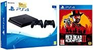Sony PS4 1TB Slim Console with Additional Dualshock Controller (Black) + Red Dead Redemption - 2 (PS4)