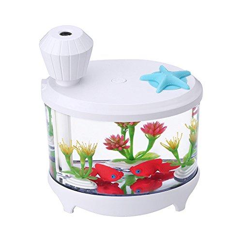 elecfan Dekorativer Aroma-wesentliches Öl-Diffusor, Mini-USB-Luftbefeuchter mit Mehrfarbigem LED-Nachtlicht, Luft Befeuchtender Ultraschallbefeuchter für Haus, Büro, Schlafzimmer, Babyroom - Weiß