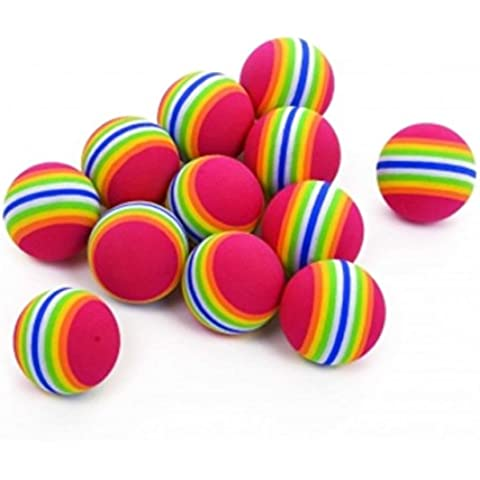Niños Ocio al aire libre Juguetes vinilo Playballs Rainbow rayas pelotas de espuma-Paquete de 48