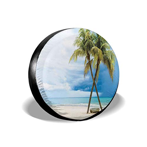 Usicapwear Tire Cover Tire Cover Wheel Covers,Cloudy Sky Boat In The Sea Palm Trees Sandy Beach Thailand Seascape Picture,for SUV Truck Camper Travel Trailer Accessories 14 inch -