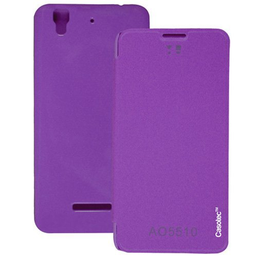 Casotec Premium Flip Case Cover for Micromax Yu Yureka AQ5510 / AO5510 - Purple