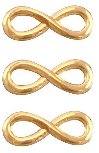Nuoli Charms Anhänger Infinity Gold (3 Stück) Unendlich Armband Anhänger 15 x 6mm, DQ Metall Charm Unendlichkeit
