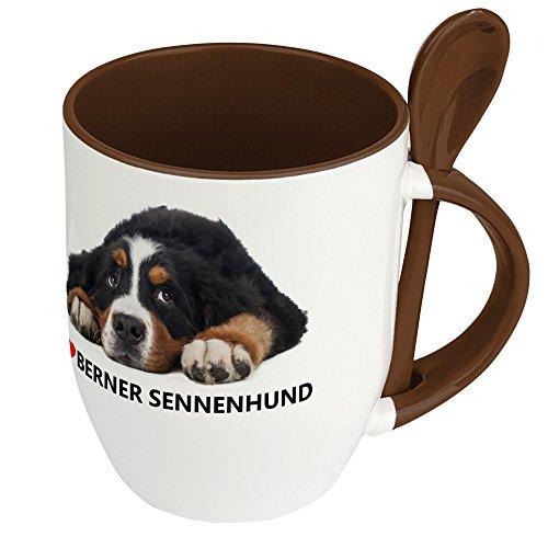 Hundetasse Berner Sennenhund - Löffel-Tasse mit Hundebild Berner Sennenhund - Becher, Kaffeetasse, Kaffeebecher, Mug - Braun