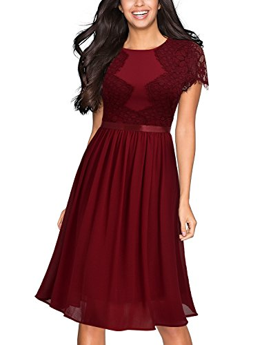 Miusol Abendkleid Sommer Chiffon festlich Kleid Cocktailkleid Vinatge kleider Rot - 3