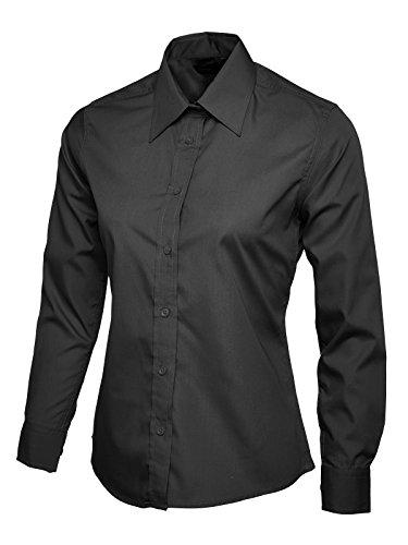 Popeline Uniform (Damen Popeline Langärmeliges Top Bluse Freizeit Formell Business Arbeit Uniform - Synthetisch, Schwarz, 35% baumwolle 65% polyester, Damen, XS)