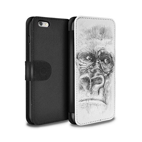STUFF4 PU-Leder Hülle/Case/Tasche/Cover für Apple iPhone 6 / Pferd Muster / Skizze Zeichnung Kollektion Gorilla / Affe