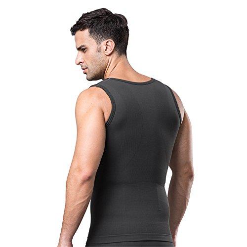 BaronHong bambù camicia da maglia compressione in carbonio per nascondere bocconcini Moobs dimagrante Shapewear maschile schiacciare tutto l'addome Grigio