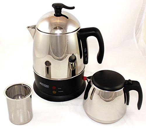 Teekocher Wasserkocher Teemaschine Edelstahl glänzend inkl. Warmhaltefunktion