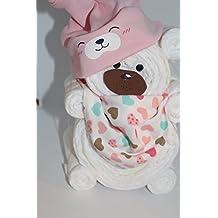 Windeltorte / Windelgeschenk / Windelbär mit Beanie + Dreieckstuch Mädchen Baby -> Niedliche Baby Kleinkind Kinder Cartoon drucken Hut Kappe Mütze + Schal Warp Set für 0-2 Jahre