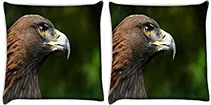 Snoogg Eagle Face Pack Of 2 Digitally Printed Cushion Cover Pillows 12 X 12 Inch