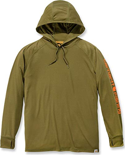 Carhartt 103572 - Force Fishing Graphic Long Sleeve Hooded T-Shirt - Military Olive - X-Small