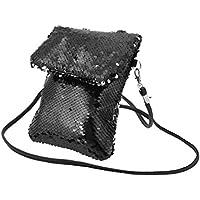 FENICAL Bolso del bolso del bolso de las lentejuelas del brillo Bolso colorido del bolso del bolso del cuadrado mini (negro)