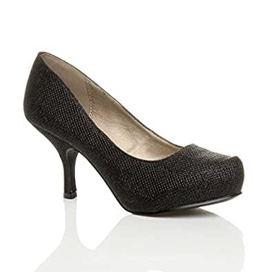 Womens ladies low mid heel pumps concealed platform work court shoes size 3 36