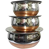 Dynore Stainless Steel Serving Bowl With Lid Set, Set Of 3, Silver