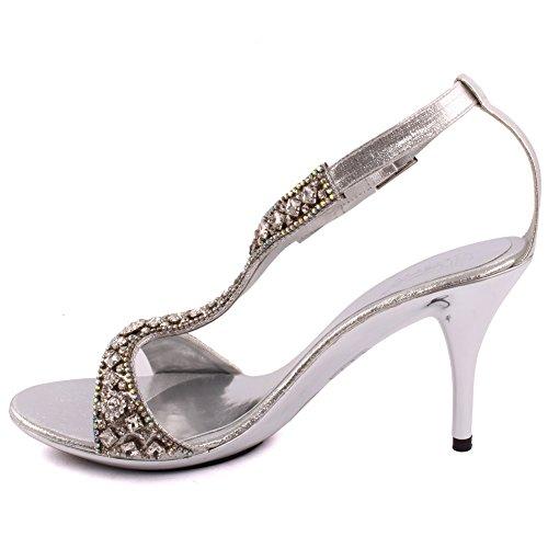 Unze Le nuove donne Ladies 'Goshh' Diamante Impreziosito T-bar Mid tacco alto promenade del partito di giorno delle nozze nuziale cinturino alla caviglia Tacchi FORMATO BRITANNICO 3-8 Argento