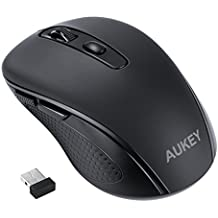 AUKEY Wireless Mouse 2.4G USB with 6 Buttons 3 Adjustable Levels DPI ( 800 / 1200 / 1600 ) Mini Slim Computer Mouse for PC/Windows/Laptop/MAC - Black