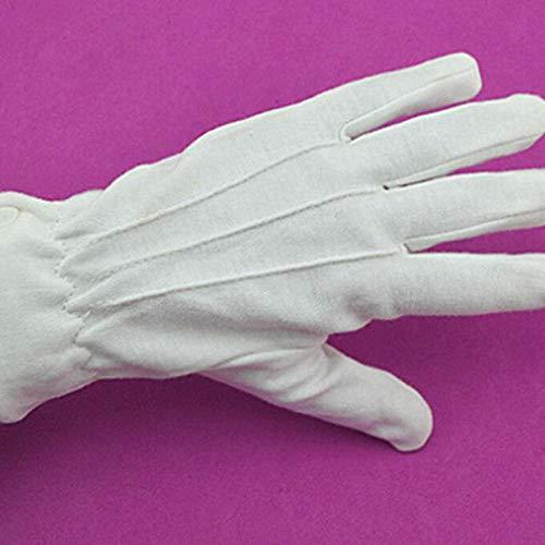 GBSTA Weiße Handschuhe Weiße Baumwollhandschuhe Formelle Arbeit Uniform Catering-Band Magier Paraden Inspektion Fünf-Finger-Arbeitshandschuhe für Herren -