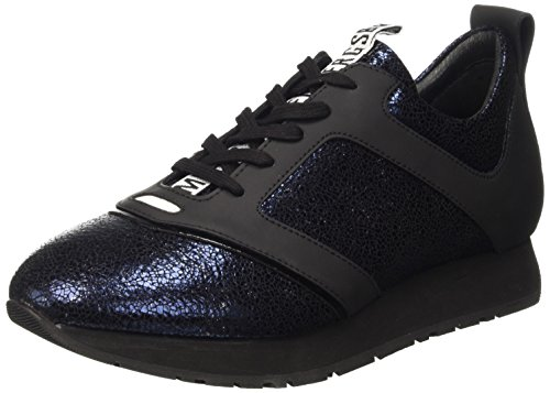 Bikkembergs Runn-er 786 Low Shoe W Leather Cracked, Pompes à plateforme plate homme Bleu - Blu (Blue/Black)