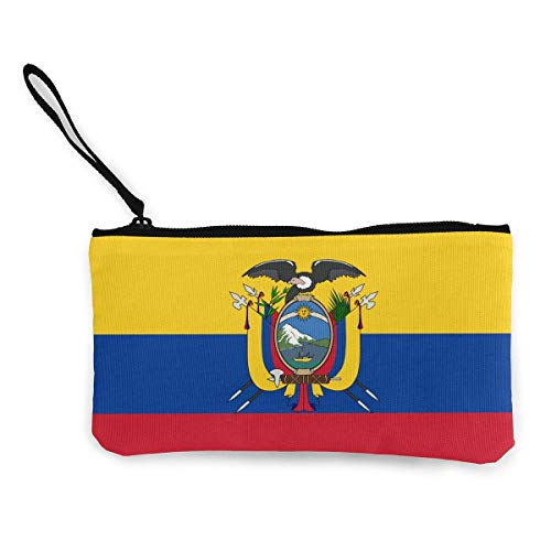 dewdferf Coin Purse Ecuador Flag Cute Travel Makeup Pencil Pen Case With Handle Cash Canvas Zipper...
