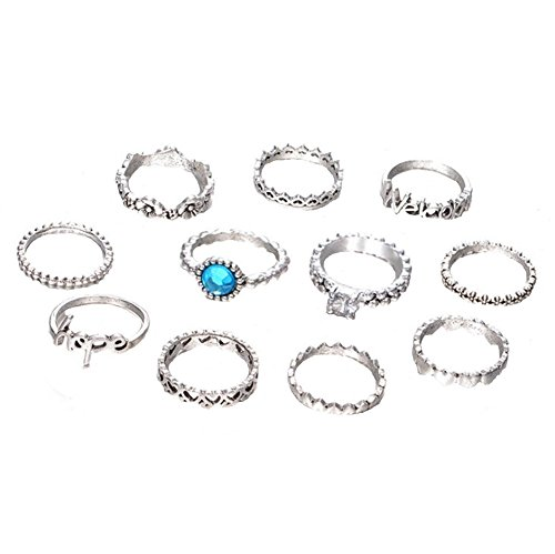 BIGBOBA 11pcs Different Style Knuckle Ring Set simple Vintage Silver Creative Anillo Jewelry Set Accessories for Women Girls