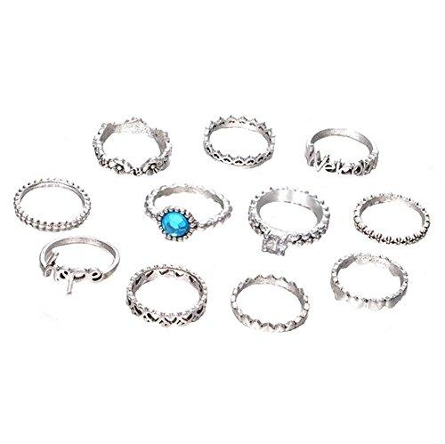WeiMay 11*Damenring Einfach Ring Silber Romantik Wild Dame Ring Liebe und blau-weißer Zirkon...