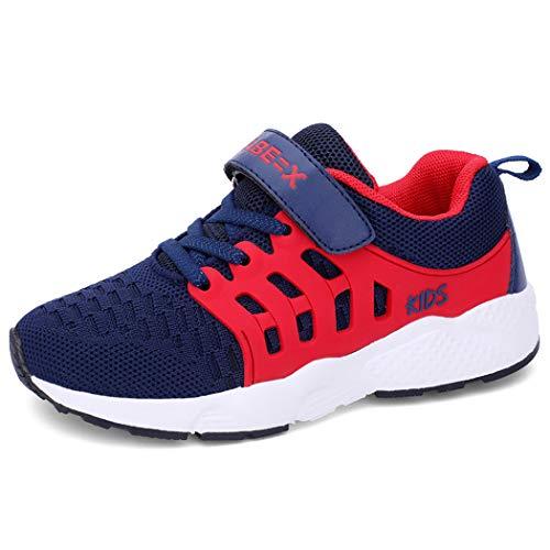 Unpowlink Kinder Schuhe Sportschuhe Ultraleicht Atmungsaktiv Turnschuhe Klettverschluss Low-Top Sneakers Laufen Schuhe Laufschuhe für Mädchen Jungen 28-37, 920-blaues Rot, 35 EU