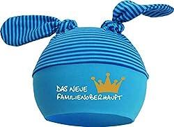 KLEINER FRATZ Baby 2-Zipfel Mütze (Farbe aqua-kobalt) (Gr. 2 (KU: 39-52) (Gr. 68-98) Neues Familienoberhaupt