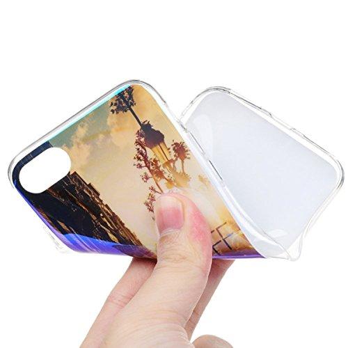 "iPhone 7 (4.7"") Reflex Blu-Ray Weich Hülle HB-Int 3 in 1 Silikon Back Case Sonnenuntergang Malerei Schutzhülle Slim TPU Cover Schlank Handyhülle Flexible Etui Transparent Rahmen Glatt Soft Shell Prote Sonnenuntergang"