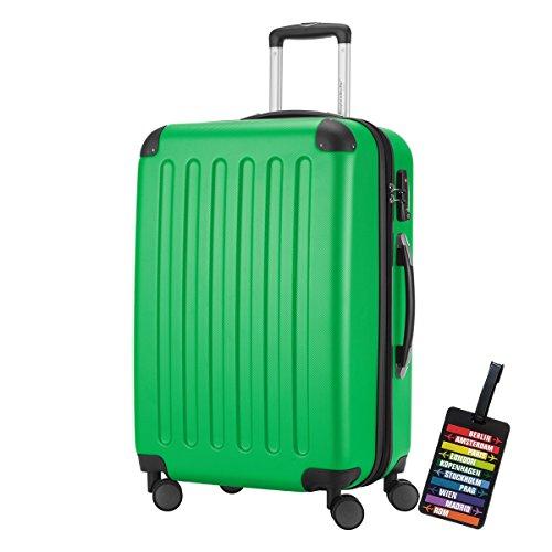 HAUPTSTADTKOFFER® Hartschalen Koffer SPREE 1203 · NEU 4 Doppel-Rollen · MATT · TSA Zahlenschloss · + KOFFERANHÄNGER (82 Liter, Apfelgrün)