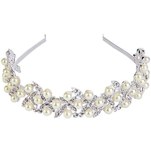 Clearine Damen Kristall Künstliche Perlen Boho Stil Hochzeit Blatt Romantik Haarschmuck Diademe...